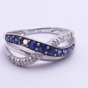 10Kt White Gold Sapphire & Diamond Ring